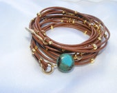 Gold & Turquoise Bracelet Brown Leather Multi-Strands-Wrap with Gold plated Leaf Charms and stone