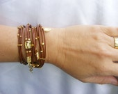 Brown Leather-Wrap Bracelet Multi-Strands with Gold plated Leaf Charms & turquoise stone