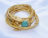 Gold Leather-Wrap Bracelet with Gold plated Leaf Charms, Multi-Strands & turquoise stone