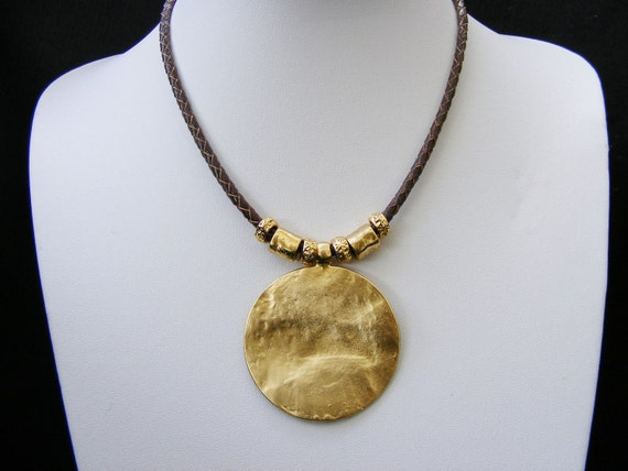 Leather Necklace Brown with gold plated hammered textured disk