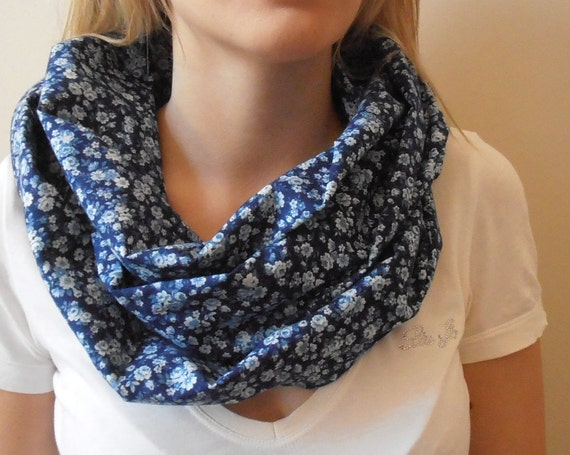 Cotton infinity scarf in Blue with Small White Roses
