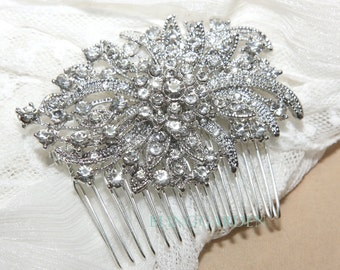 Silver Vintage Style Rhombus Rhinestone Crystals Wedding Bridal Dress Hair Comb/alligator clip