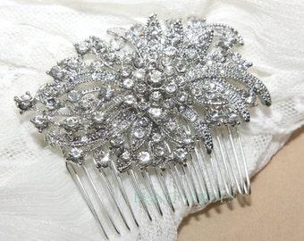 Silver Vintage Style Rhombus Rhinestone Crystals Wedding Bridal Dress Hair Comb/alligator clip