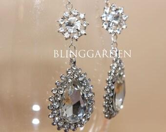 Bridal Earrings, Rhinestone Crystals Teardrop Dangle Earrings, Wedding Bridesmaids Earrings, 925 Sterling Silver Hook Earrings Jewelry