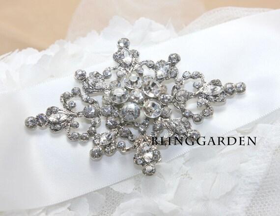 "3.5"" Rhombus Bling Jewelry Hair Cake Rhinestone Crystals Wedding Bridal Dress Brooch Adornment Belt Sash"