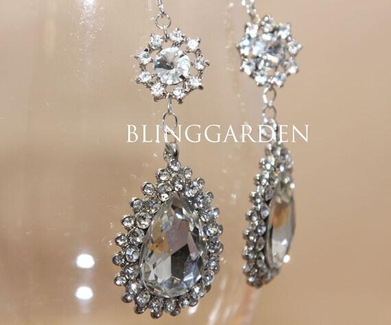 RESERVED -- 925 Sterling silver vintage Style Dangle Chandelier Jewelry Rhinestone Crystals Wedding Bridal Brides Brooch Earrings