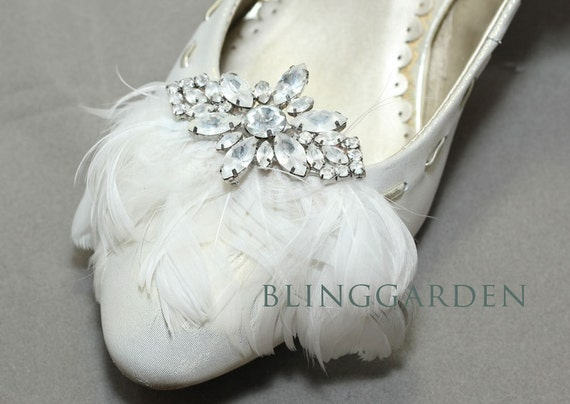 A Pair Of Feather Shoe Clips,Rhinestone Shoe Clips,Wedding Bridal Shoe Clips,Feather Crystal,Crystal Shoe Clips,Dance Shoe Clips Decoration