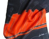 Hand painted silk scarf abstractional orange rythms in gray. Orange, dark gray.