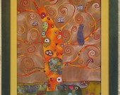 My Gustav Klimt. Silk painting. Gold,orange, brown, green.