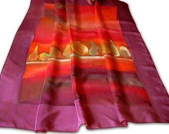 Hand painted silk shawl with theme of autumnal forest. Red, purple, carmine.