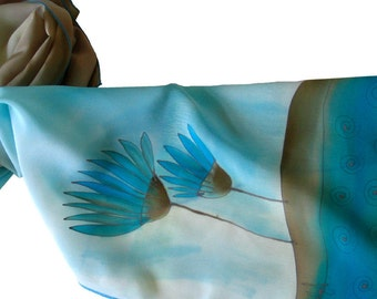 Hand painted silk scarf with flowers in blueness. Blue, silver gray.