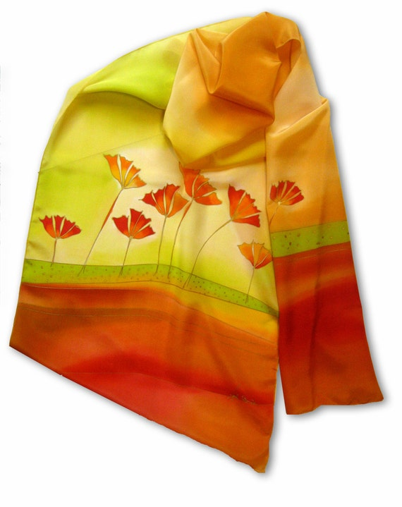 Hand painted silk scarf with summer meadow theme. Light green, brown, crimson.