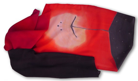Hand painted silk scarf with dandelions in coral red. Coral, red, carmine, black.