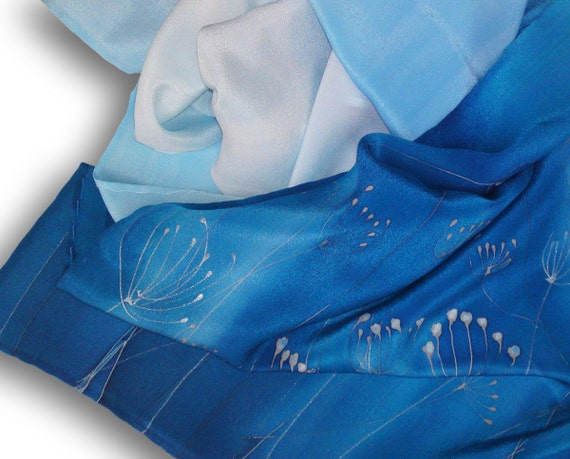 Hand painted silk scarf with flowers frozen in shades of blue. Azure, Sapphire, Light Blue, Cobalt Blue.