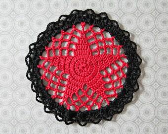 "Red and Black, Round Mini Doily - Rock Star - Handmade Crochet, 4"", Egyptian Cotton - Teen Tween Modern Room Decor"