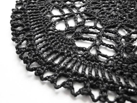 Round Doily - Gothic Moonshine - Black Egyptian Cotton - Lace, Crochet, Goth, Halloween, Ironwork, Decor, Gift