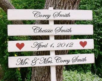 CUSTOM Wood Wedding DIRECTIONAL Signs. Made to Order. HANDPAINTED. Personalized Four Piece Sign.