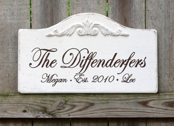 Handmade Custom Wood Signs. Personalized to include Family Name, Last Name, Wedding Date, Home Address. Signs with 30 to 40 Characters.
