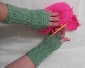 Green knit fingerless gloves