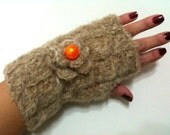Valentine Brown Angora Fingerless Gloves with orange bead