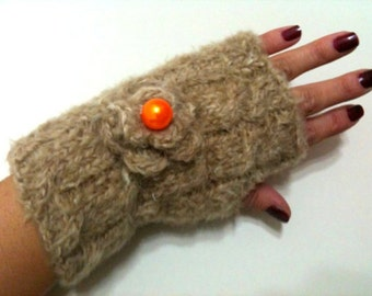 Valentine Brown Angora Fingerless Gloves with orange bead