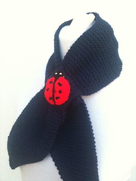 Dark blue handknitting fancy scarf