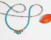 Jubjub. Turquoise and Gold Necklace. Delicate and Exotic Beaded Necklace. Turquoise Jewelry.