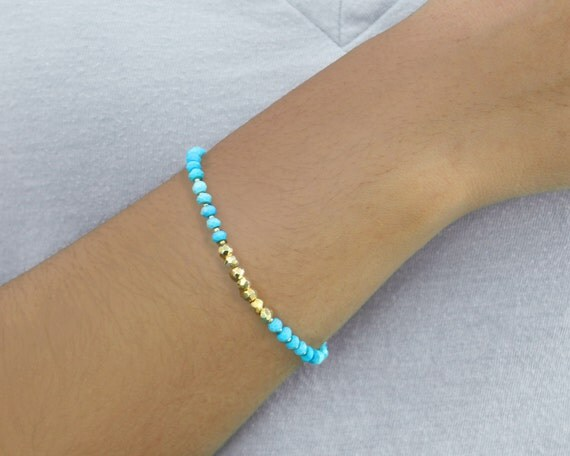 beaded friendship bracelet Tweedle Gold vermeil and turquoise bracelet or anklet with a vermeil lotus flower charm EX.