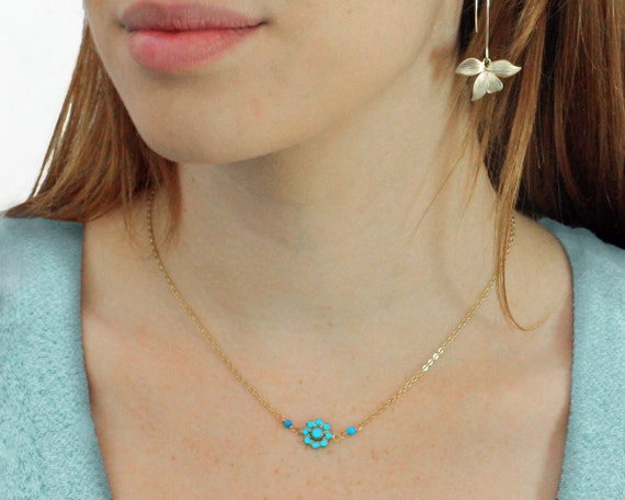 Turquoise flower necklace. Delicate turquoise Necklace. Aqua Blue Flower necklace. 14k Gold Filled. Resort Jewelry.