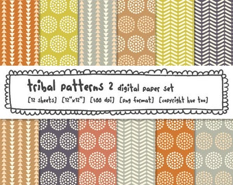 digital paper, printable tribal patterns, circles triangles, patterned paper for personal and small commercial use 323
