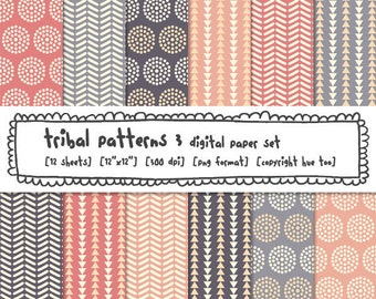 digital paper, printable tribal patterns, circles triangles, pink purple gray, patterned paper instant download - 326