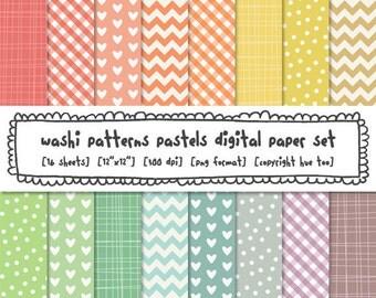 digital papers washi tape patterns, pastel spring colors, colorful easter digital backgrounds, instant download digital files - 335