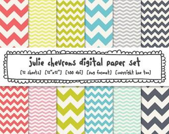 chevron digital paper, zig zag paper, digital photography backgrounds, pink green blue,  instant download - 343