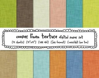 linen texture digital paper, digital photography backgrounds, green blue orange brown linen for instant download - 350