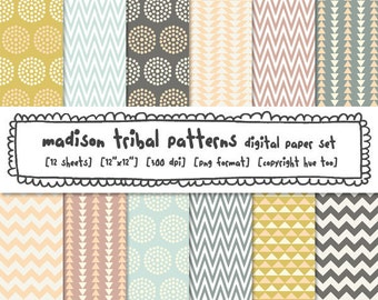 tribal pattern digital paper, photography backgrounds, soft colors, pink gray aqua mustard, instant download - 362