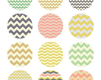 chevron zig zag stripe collage sheet, 2 inch circles, vintage pastel colors, printable images, instant download cupcake toppers 904