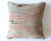 Organic Shine Society Modern Bohemian Throw Pillow. Handwoven Wool Vintage Tribal Anatolian Turkish Kilim Pillow Cover. Rust. 16x16
