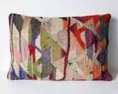 Organic Shine Society Modern Bohemian Throw Pillow. Handwoven Wool Vintage Tribal Turkish Kilim Pillow Cover. Purple, Orange, Red. 14x20