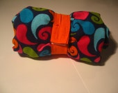 Roll Up Reusable Shopping Bag or Tote in Oragne and Teal Print Corduroy