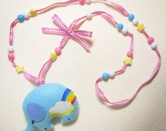 Rainbow elephant necklace