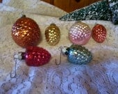 6 Beautiful Antique Glass Pine Cone Christmas Ornaments
