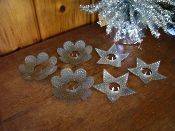 6 Antique Primitive Punched Tin Christmas Light Reflectors