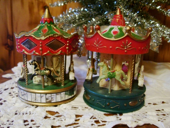 Two Vintage 1991 Noma Carousel Christmas By Christmasnotions