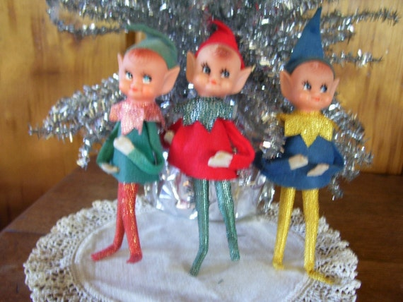 Reserved for Canada Three Rare Antique 1950's Christmas Elf Pixie Pose Dolls Super Clean