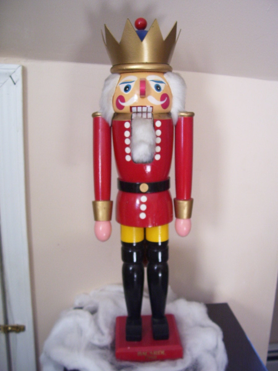 Large rare christmas antique wooden nutcracker by christmasnotions