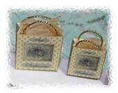 Ladys  historic lavender parfumerie  shopping bags OOAK Dollhouse scale 1/12