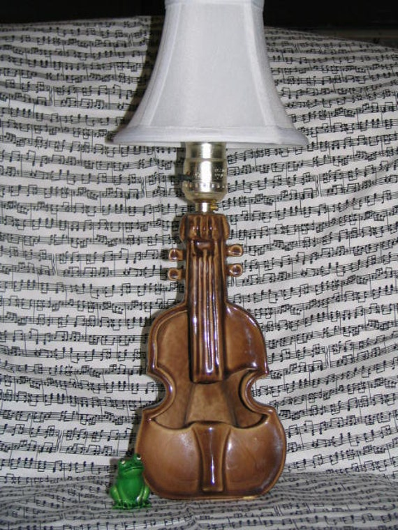 "RESERVE For ""Susie-Q""  Vintage Lamp Guitar Ceramic Chocolate Brown White Shade Planter Folk Rocker Music"