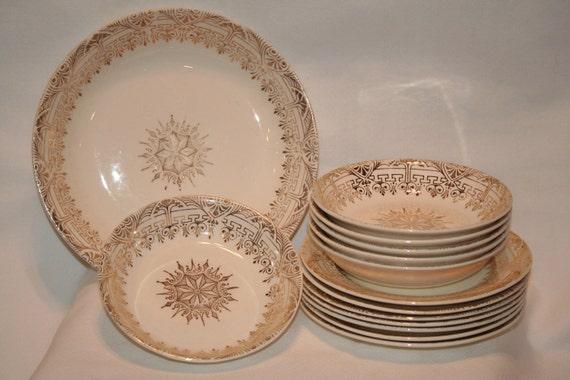 Vintage Stetson Gold Greek Key Dishes, Vintage Kitchen Decor, Vintage Dishes.