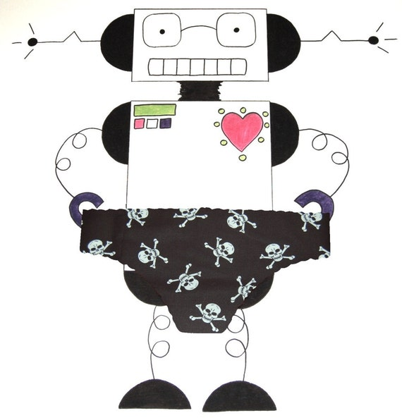 Black and White Skull and Crossbones Panties by She Felt Geeky - Made to Order UK Size 8-16
