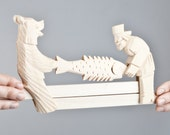 "Hand Carved Moving Wooden Toy ""Who'll get the fish"""